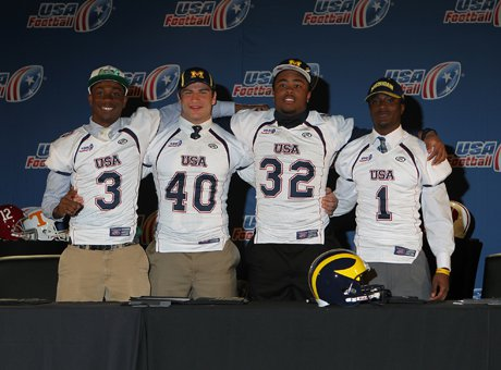 Devin Butler (3), Ben Gedeon (40), Khalid Hill (32) and Jourdan Lewis (1) pose at the 2013 USA Football Signing Day Breakfast at The Renaissance Hotel Austin Wednesday.