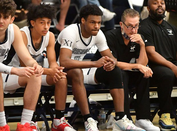 Bronny James came off the bench Friday, his first action of the season for Sierra Canyon after injuring his knee in February.
