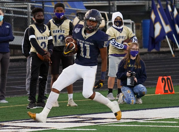Decatur Central athlete and No. 17 top senior recruit Javon Tracy on the way to one of his 16 career touchdown receptions.