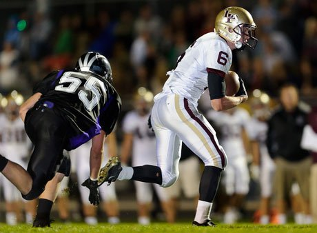 Lone Peak's Talon Shumway has made a habit of running away from the opposition after catches.