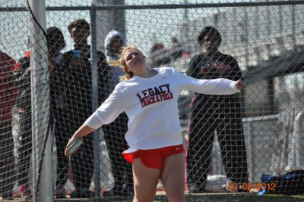Shelbi Vaughan of Mansfield Legacy now holds the national record in the discus throw. She's not all about track though, as she will also play volleyball at Texas A&M next season.