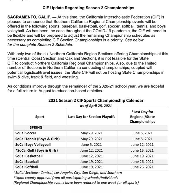 CIF's announcement and schedule released Wednesday about Southern and Northern California playoffs.