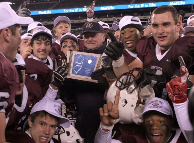 Don Bosco Prep celebrates a 42-14 win over rival Bergen Catholic in the 2011 New Jersey Group 4 state final.