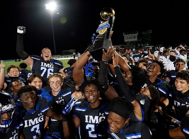 IMG Academy players celebrate their 41-6 GEICO Bowl Series win over TRU Prep Academy on Friday.