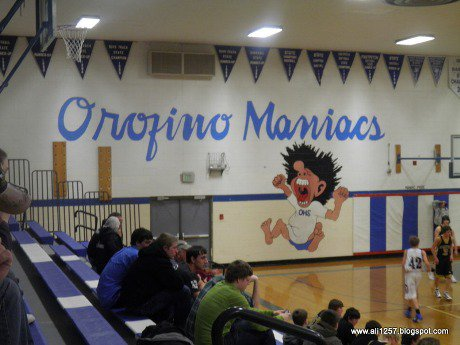 The gym at Orofino High School in Idaho touts the school's amazingly unique mascot. The unique nature isn't in doubt, but some doubt how tasteful the mascot name is when you factor in the school's proximity to a mental hospital.