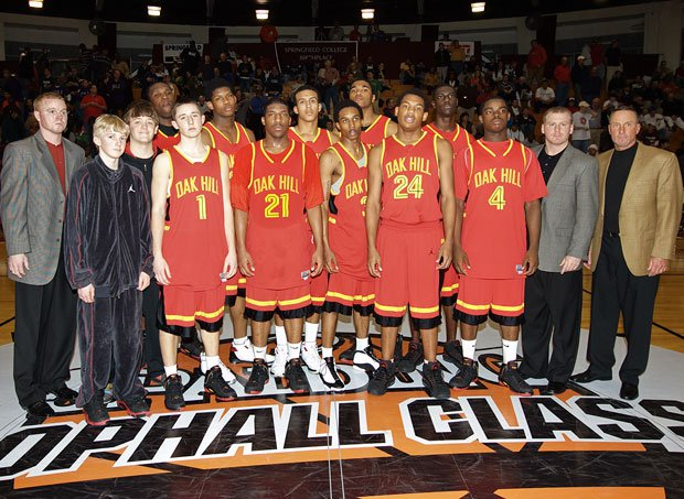 The 2007-08 Oak Hill Academy squad featured two eventual McDonald's All-Americans in Brandon Jennings (front row, fourth from left) and Keith Gallon (back row, far left in uniform).
