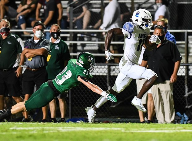 No. 1 IMG Academy raced to a season-opening victory with a 49-13 win over Venice (Fla.) on Friday.
