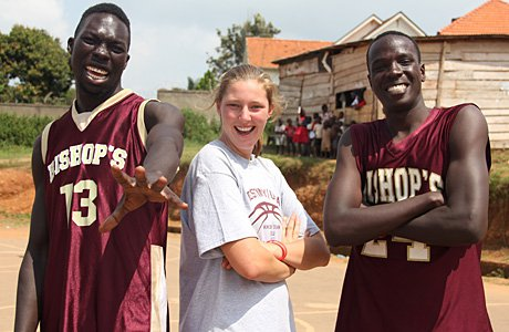 Devon Roeper (center), a standout basketball player at Bishop's in San Diego, helped organize an effort to use basketball to stabilize a dilapidated area of Uganda.