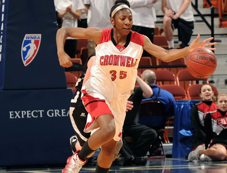 Junior forward Janelle Harrison and her Cromwell teammates hope to return to Mohegan Sun Arena next week for the 2013 CIAC Class M girls basketball final. Harrison was a freshman two seasons ago, when Cromwell fell to Portland in the Class S final.
