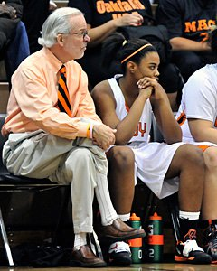 McClymonds coach Dennis Flannery is usually quiet and quite  subdued on the bench, opposed  from his outgoing personality.