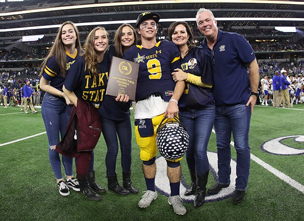 John Stephen Jones poses for a family photo after winning the UIL 5A Division I state championship.