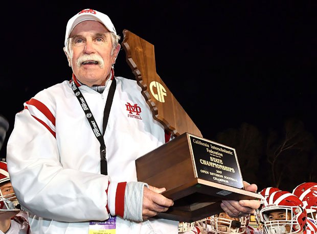 Head coach Bruce Rollinson led Mater Dei to state and national titles in 2017.