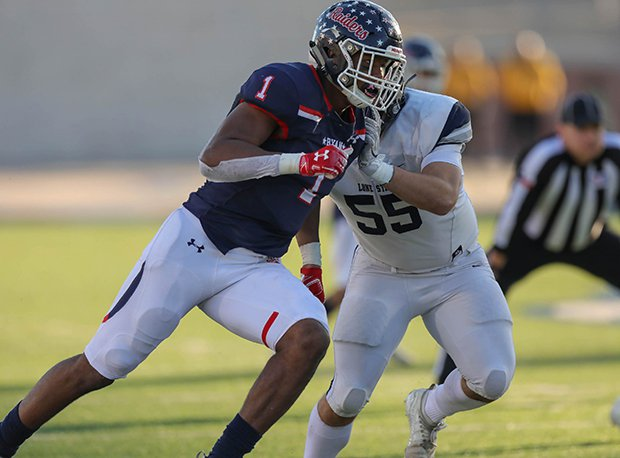 Denton Ryan defensive lineman Ja'Tavion Sanders has committed to Texas. He holds 22 offers including Alabama, LSU, Ohio State, Notre Dame, Oklahoma, Georgia, Texas A&M, Florida and Washington.