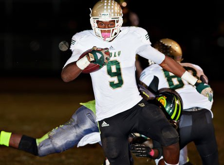 John Smith, shown in action earlier this season, snared the game-winning interception that sent Long Beach Poly to the Pac-5 title game against Mater Dei.