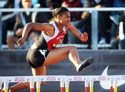 Trinity Wilson is nation's fastest 100-meter hurdler as she showed in the Arcadia Invitational a month ago.