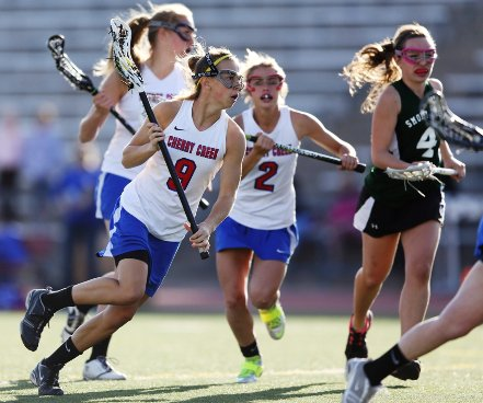 Cherry Creek senior Mara Bandt-Law (9) scored seven goals for the defending champions in the state lacrosse semifinals Saturday against Centaurus. The Bruins won 25-15. They will meet Air Academy in the finals.