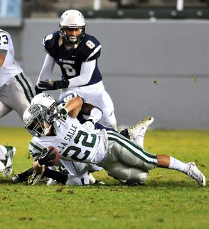 Yards were tough to come by for De La Salle'sJohn Velasco, who finished with 93 yards and a TD.