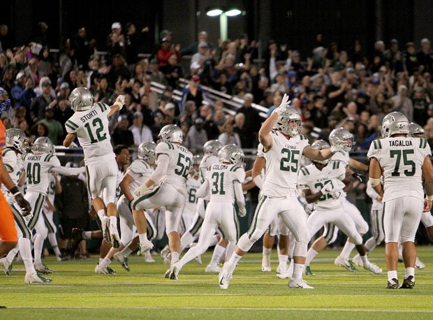 De La Salle celebrates following the final tick of the clock in an emotional 27-21 home win over Bishop Gorman.