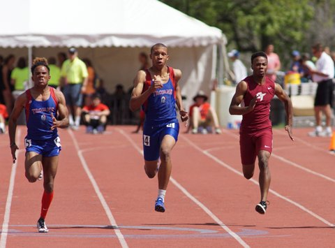 Fountain-Fort Carson senior Donovan Williams, center, enters the Class 5A state meet with the classification's top times in the 100 and 200 meters. The state meet for all classes begins Thursday morning at Jeffco Stadium in Lakewood.