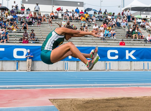 CIF state track and field triple jump champions Kennedy Jones with virtually perfect form.