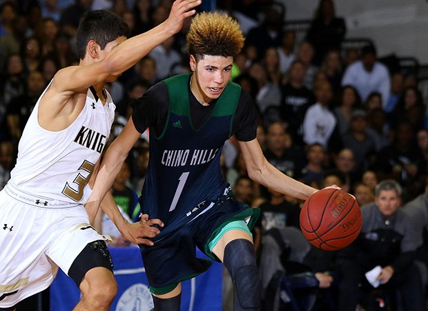 Chino Hills guard LaMelo Ball dribbles past a Bishop Montgomery defender.