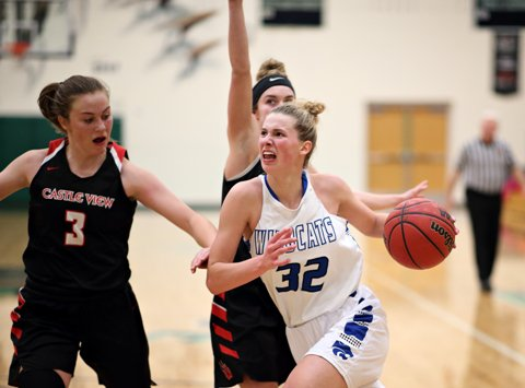 Fruita Monument and standout Riley Snyder (32) earned the top seed in the Class 5A girls state basketball tournament, which begins Tuesday, along with the 4A state event. Pueblo West is the top seed in 4A.