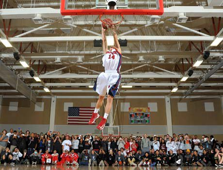 Slam dunk contest winner Ryan Lough, an unassuming 5-8 junior guard from nearby King (Riverside), sent the more than 2,000 fans still in attendance at Palm Desert High School into a frenzy with some of his high-flying antics.