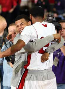 Marcus players celebrate their state championship victory over Lakeview Centennial.