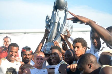 Super Bad celebrates its 7-on-7 title at the 2012 edition of The Opening at Nike headquarters in Beaverton, Ore.