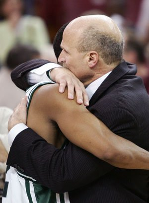 Allocco gives an embrace after another win.