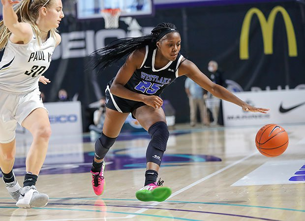 Raven Johnson of Westlake chases down a loose ball.