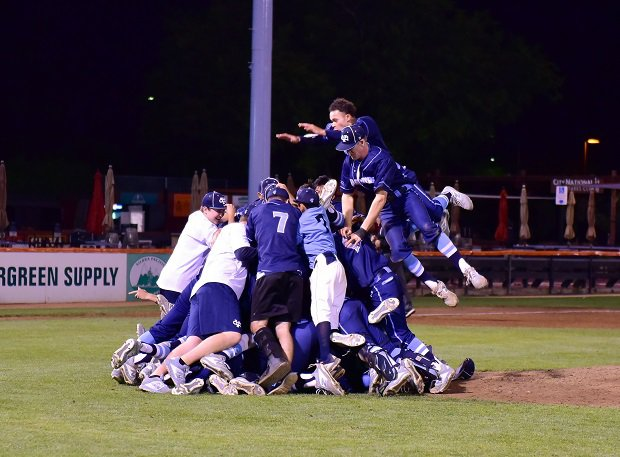 Valley Christian celebrates its CIF Central Coast Open Division title.