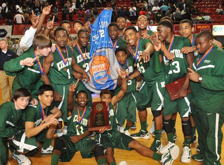 Kinston celebrates a win over Cuthbertson in North Carolina's Class 2A state championship game.