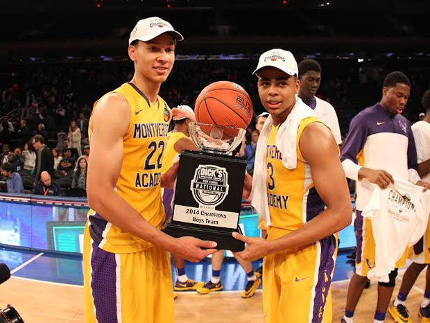 Montverde Academy's dynamic duo of Ben Simmons (left) and D'Angelo Russell celebrate Saturday's win over Oak Hill Academy in the Dick's Nationals title game.