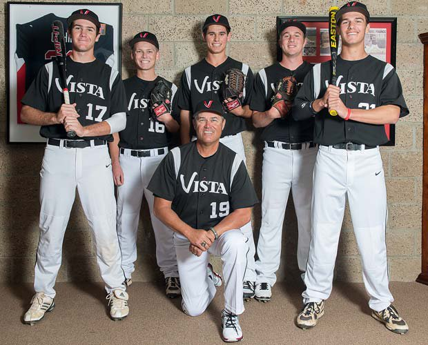 Head coach Rick Lepire has outstanding pitching depth from last year's team that finished 31-4 overall. Lepire (kneeling) is surrounded by players (left to right) Zack Mann, Dylan Estensen, Billy Roth, Brett Seeburger and Austin Ott.