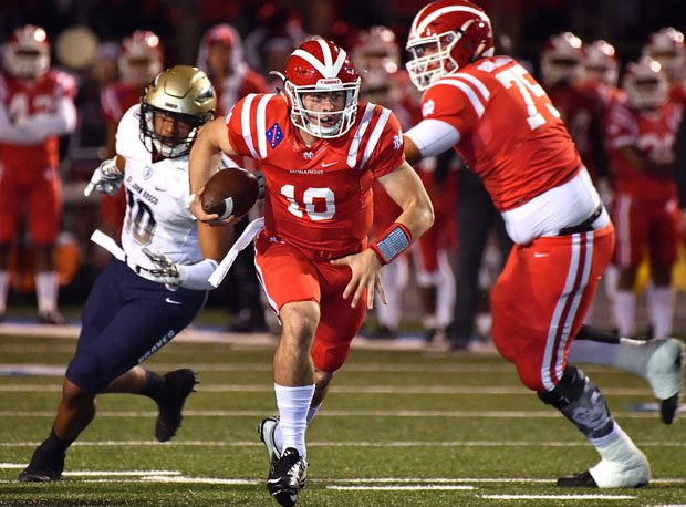 JT Daniels escaped pressure a couple of times, but mostly he sat back and threw perfect spirals — for 300 yards and five touchdowns.