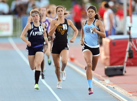 Mikaela Smith, of Clovis North, had the day's top girls 800 time of 2:10.63.