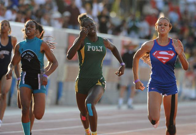 It was anyone's race between Thompson (right), Ndipagbor (middle) and Deer Valley's Chizoba Okodogbe (left).