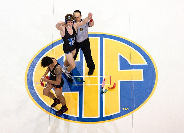 Trent Tracy of Frontier (Calif.) celebrates winning the 170-pound weight class during the finals of the CIF State Boys Wrestling Championships at Rabobank Arena in Bakersfield.