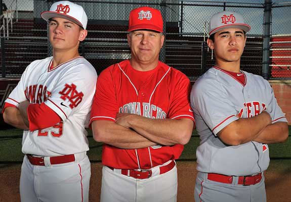 Mater Dei has a storied legacy in Southern California, and the 2012 edition has what it takes to be among the best in school history. Pitcher Ty Moore, left, and catcher Jeremy Martinez, right, will team with coach Burt Call to try and make it happen.