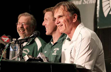 Bob Ladouceur smiles Friday at a news conference at De La Salle High School. The legendary coach announced he is resigning from his position, and offensive line coach Justin Alumbaugh will take over.