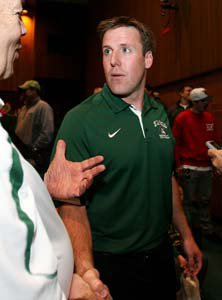 New head coach Justin Alumbaugh at Friday's press conference.