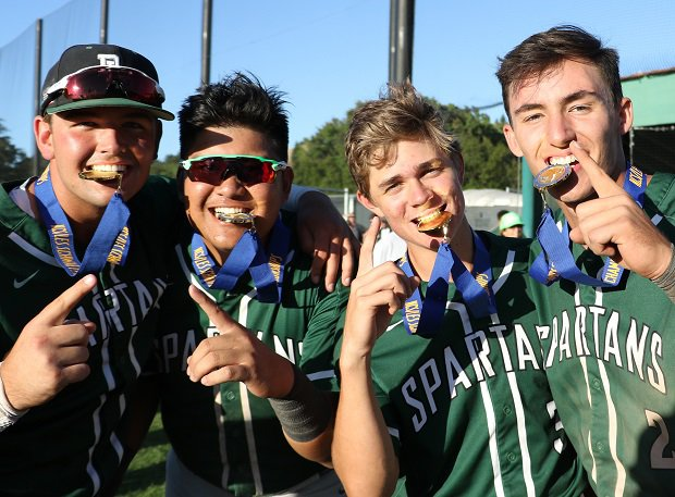 De La Salle (Concord, Calif.) players show off their North Coast Section championship medals.