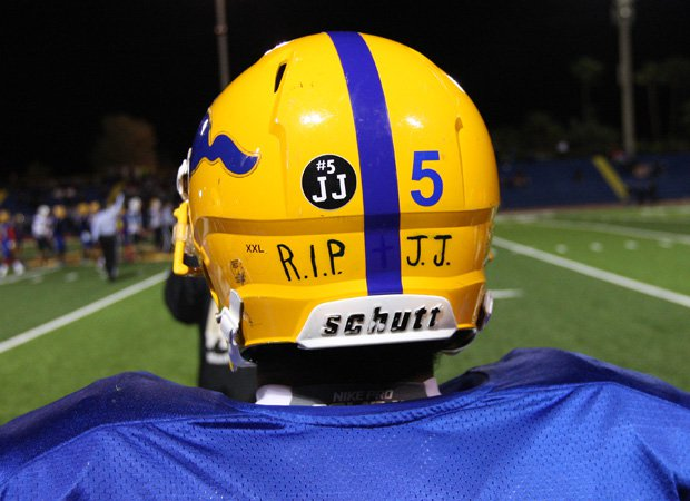 A Grant player pays tribute to Clavo on his helmet.
