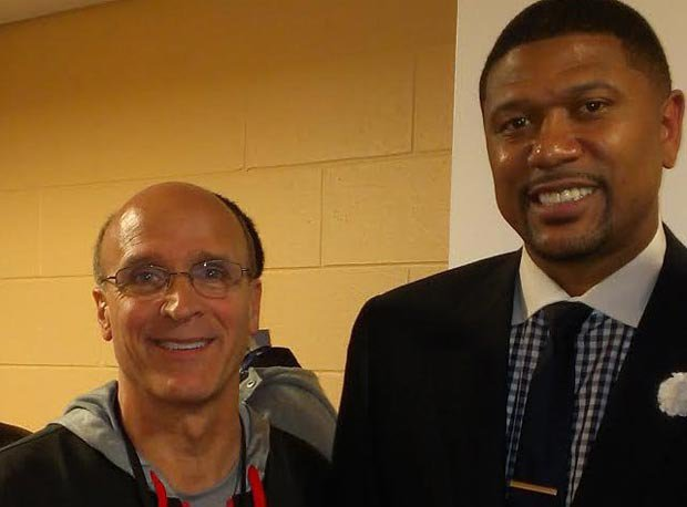 West team coach Frank Allocco meets Jalen Rose Monday in Chicago.