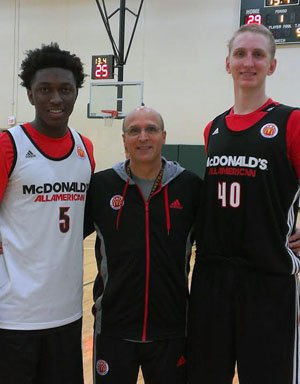 Allocco is flanked by Southern California starsStanley Johnson (left) and Thomas Welsh. Johnsonis headed to Arizona and Welsh to UCLA.