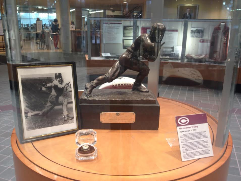 The display at the University of Chicago's Hall of Fame features legendary halfback Jay Berwanger's Heisman Trophy from 1935.