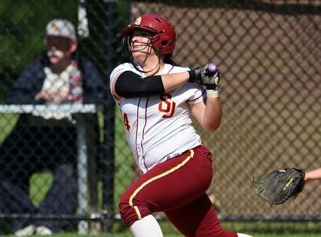 Lauren Pitney homered on Monday to help St. Joseph defeat Wolcott, 15-0, in a CIAC Class M first round game. As a team, the Cadets are batting .425 for the season in 24 games.