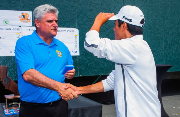 Ron Nocetti (left) shakes hand at a CIF State golf championship event.