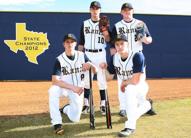Cypress Ranch has a wealth of returning talent, including three players who earned all-state honors last season. Leading the charge for the Mustangs are players (counterclockwise from the left): Dalton Stark, Corbin Martin, Derek Dickerson and Bryce Johnson.
